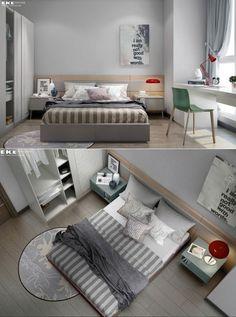chambre avec beau parquet et tapis original