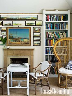 Crowning the library hearth in Amanda Lindroth's Bahamas house are watercolors of the Bahamas by Gaspard Le Marchant Tupper. Willow Group rattan chairs are pulled up to a backgammon table. Home Library Decor, Home Library Design, Home Libraries, House Design, Home Decor, Library Ideas, Bahamas House, Beautiful Homes, House Beautiful