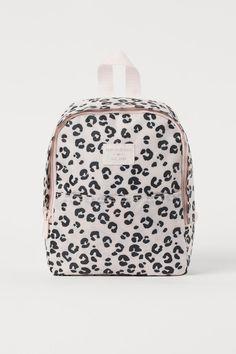 Patterned Backpack - White/leopard print - Kids   H&M US Motif Leopard, White Leopard, Small Backpack, Mini Backpack, Cardboard Storage, Small Shoulder Bag, Shoulder Straps, Purple Unicorn, Metallic Pink