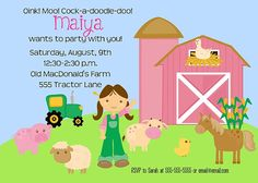 wanting to do a girly farm birthday party for lucy since she's so into tractors and barnyard animals... love this invite! (this etsy shop also has complete party pack with printables :)