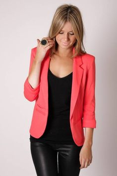 I need a colorful blazer in my wardrobe. Either coral or aqua or teal or purple. Also love the ring.