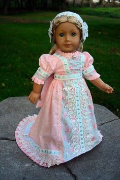 "SOLD ""Pink Skies""Regency Dress,Clothes,Outfit for 18""American Girl Caroline"
