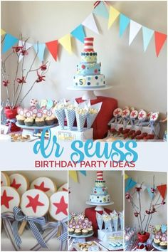 Seuss Themed Birthday Party - Spaceships and Laser Beams Dr Seuss Birthday Party, Baby Boy Birthday, Birthday Party Games, Birthday Party Decorations, Birthday Ideas, Cat In The Hat Party, Party Central, Dr Suess, Dessert Table