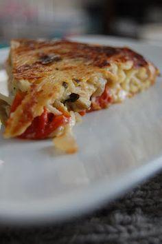 Torta di Pasta -- made with leftover spaghetti & veggies!