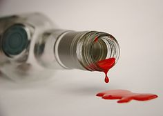 blood on the bottle