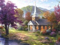 Thomas Kinkade Country Church Cross Stitch Pattern***L@@K*** by LONE WOLF CROSS-STITCH PATTERNS LOOK, $4.95 CLICK VISIT TO SEE PATTERN FORSALE