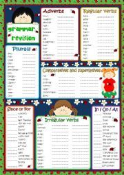 English worksheet: Grammar revision * KEY included*