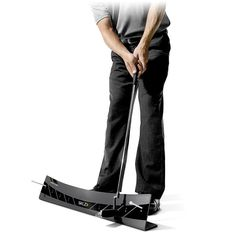 This golf putting training aid teaches correct stroke path, proper acceleration and how to square the clubface Golf Swing Plane Trainer, Swing Trainer, Golf Gadgets, Crazy Golf, Golf Putting, Golf Lessons, Training Equipment, Golf Outfit, Golf Carts