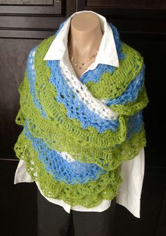 Crochet lacy wrap shawl in sparkle and sequin yarn