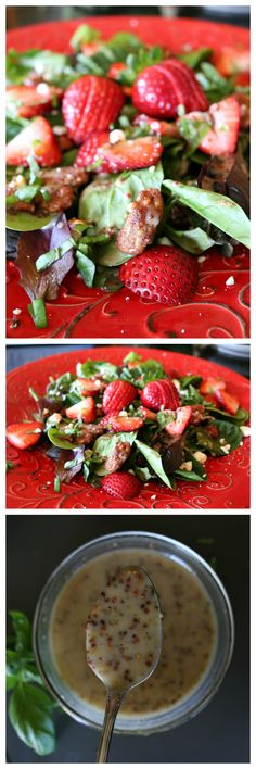 Strawberry Spinach Salad with Honey Mustard Dressing - Summer tasted so good! Find this and over 200+ Healthy Salad and Dressing Recipes at CeceliasGoodStuff.com | Good Food for Good People