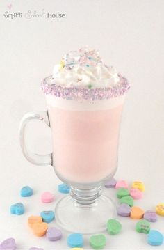 Hot White Chocolate (with Pink Dye) or Hot Strawberry Milk for Valentine's Day