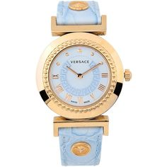 Versace Wrist Watch ($740) ❤ liked on Polyvore featuring jewelry, watches, sky blue, versace watches, blue sky jewelry, versace jewellery, logo watches and versace jewelry