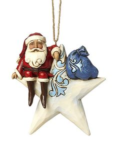 Loving this Red Santa on Star Ornament on #zulily! #zulilyfinds