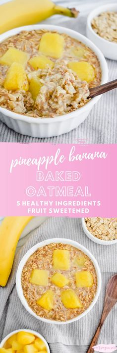 Vegan single serve pineapple banana baked oatmeal is dense, rich, and full of sweet, tropical fruit flavor! A satisfying and healthy way to start the day, made with just 5 ingredients and fruit sweetened. #veganoatmeal #oatmeal #bakedoatmeal #healthyoatmeal #oats #veganbreakfast #breakfast #healthybreakfast #pineappleoatmeal #healthyfood #easyhealthybreakfast Baked Oats, Baked Oatmeal, Easy Healthy Breakfast, Vegan Breakfast Recipes, Breakfast Ideas, Dairy Free Recipes, Vegan Recipes, Diet Recipes, Gluten Free