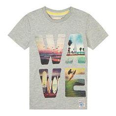 Boy's grey photo 'WAVE' t-shirt