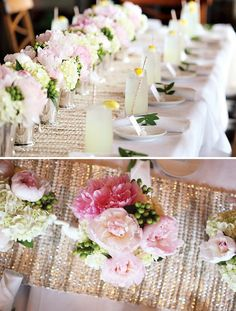 romantic and fresh bridal shower table decorations with drinks and centerpiece bouquets