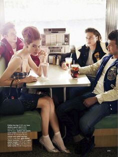 fashion editorials, shows, campaigns & more!: meet me at the diner.: esme wissels, james, wes and matti by walter chin for glamour uk march 2012 Glamour Uk, Vintage Glamour, Greaser Girl, Vintage Diner, 50s Diner, Stretch Pencil Skirt, Out To Lunch, Cheap Ray Ban Sunglasses, Retro Chic