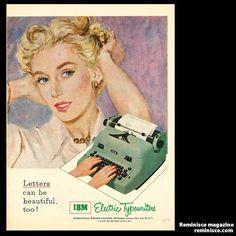 1950s typewriter - Vintage ad  - www.remix-numerisation.fr - Rendez vos souvenirs durables ! - Sauvegarde - Transfert - Copie - Digitalisation - Restauration de bande magnétique Audio - MiniDisc - Cassette Audio et Cassette VHS - VHSC - SVHSC - Video8 - Hi8 - Digital8 - MiniDv - Laserdisc - Bobine fil d'acier - Micro-cassette - Digitalisation audio - Elcaset