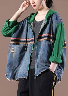 Hooded Plus Size Spring Maxi Coat Green Clothing Jackets Green Coat, Green Jacket, Green Clothing, Maxi Coat, Plus Size Coats, Casual Fall, Autumn Tops, Loose Fit, Grunge