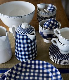 Dinnerware Depot - Dinnerware Sets, Fine China, Dishes, Tableware for Sale - At Home with Marieke Blue Check Tableware - RETIRED Blue Dinnerware, White Dishes, Blue Dishes, Blue And White China, Blue Gingham, Gingham Check, Blue Check, Home Living, White Decor