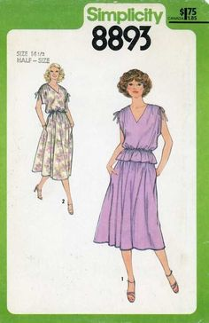 Vintage 70s PATTERN 14 1/2 half size dress top skirt elastic waist side pockets #Simplicity #elasticwaist