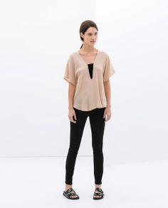 Image 1 of STRETCH DENIM TROUSERS from Zara