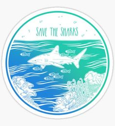 """""""Save the Sharks!"""" Stickers by Hannah Diaz Food Stickers, Laptop Stickers, Cute Stickers, Homemade Stickers, Bubble Stickers, Printable Stickers, Planner Stickers, Save Our Earth, Save The Planet"""