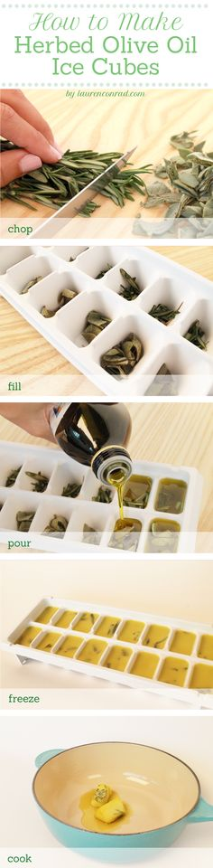Herbed Olive Oil Cubes: use fresh herbs & freeze, then pop from the freezer to the skillet when ready to cook