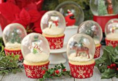I've been dreaming and scheming about these snow globe cupcakes for over a month now. It took a lot of experimenting, several last-minute gelatin purchases, some late-night disasters, and a few choice words mumbled under my breath, but at last, this Christmas dessert finally lives up to the idea in my head!