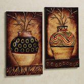 Tribal Vase Wall Art Set Multi Earth Set of Two