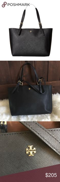 brand new 23071 98528 Host Pick 💥 Tory Burch York Buckle Tote, small Black Saffino leather,  Holds a full day s essentials, plus a 10