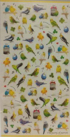 Budgie / Budgerigar / Cockatiel / Parakeet Stickers for scrapbooking.