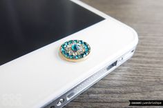 Bling Teal Home Button Sticker for iPhone by CocoonByWL, Etsy.