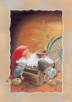 Kaarina Toivanen Swedish Christmas, Christmas And New Year, Vintage Christmas, Christmas Eve, Christmas Clipart, Christmas Crafts, Christmas Illustration, Illustration Art, Xmas Cards