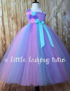 Aqua Pink and Lavender Flower Girl Dress, Girls Aqua Tulle Tutu Dress, Aqua Tutu Dress, Aqua Empire Waist Dress - Little Ladybug Tutus