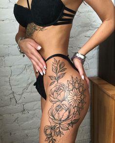 Leg tattoo by Dasha Sumkina