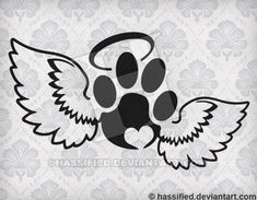 Pet Print with Wings - SVG cut file printable christian htv art cutfile for cricut silhouette clipar Tattoos For Dog Lovers, Dog Tattoos, Body Art Tattoos, Print Tattoos, Tatoos, Tatoo Dog, Cat Tattoo, Tatoo Angel, Tatoo Heart
