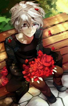 White hair anime boy with glasses sitting in park with roses in his lap