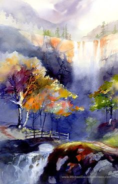 Waterfall Watercolor Landscape Painting Print by Michael David Sorensen. Sierra Nevada Mountains. Watercolor Trees. Bridge. Blue. Orange.