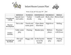 infant room lesson plan westlake childcare by linzhengnd