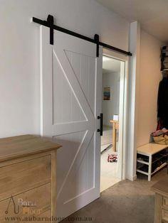 K-Brace White Internal Doors Barn Door Bathroom Barn Door, Bathroom Interior, Barn Door In Bedroom, Sliding Bathroom Doors, Barn Door In House, Sliding Door, Living Room Designs, Interior Design Living Room, White Internal Doors