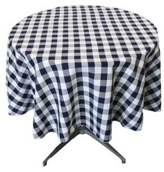 THIS IS SOMETHING WE WANT TO AVOID. BARE LEGS LOOK CHEAP.    Polyester Gingham Checkered Round Tablecloth