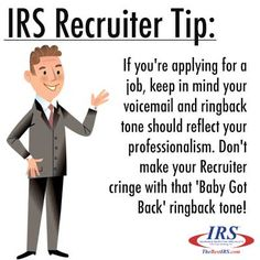 Make sure you keep your voicemail and ringback tone professional when job searching. #Recruitertip #career