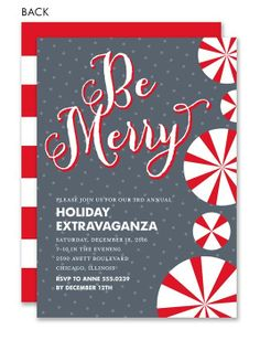 Christmas Party Holiday Invitation Dots Confetti Glitter Red