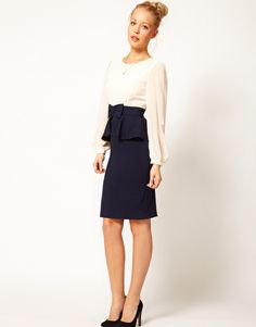 Enlarge A Wear Bow Waist Contrast Dress  this is my fashion to a T
