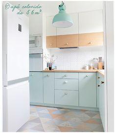 Apartamento pequeno, de apenas 56m², mas cheio de cor, personalidade e ideias para inspirar e ajudas na hora de decorar a casa.