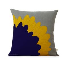 Pop Art Flower PILLOW COVER in Grey Natural Linen by JillianReneDecor | Designer Home Decor | Mustard Yellow and Navy | Mid Century Inspired