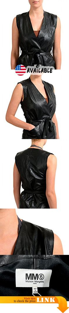 "B077C9Q69V : Maison Margiela MM6 100% Calf Leather Black Belted Women's Vest US XS IT 38. New without tags. Country/Region of Manufacture: Italy. Material: 100% Calf Leather. Bust: 17"" Length: 25.5"""