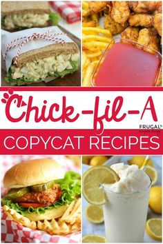 Copycat Chick-fil-A recipes including chicken waffle fries salads sandwiches nuggets strips milkshakes lemonade Polynesian sauce and more. Chick Fil A Sauce, Salsa Chick Fil A, Party Sandwiches, Healthy Sandwiches, Delicious Sandwiches, Chik Filet, Panera Bread, Chick Fil A Recipe Copycat, Polynesian Sauce