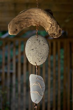 Wind Chime Beach Stone Driftwood Sea Glass Copper - Coast Chimes - 3